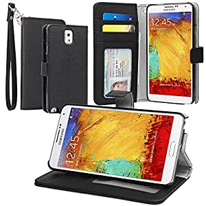 Evecase® Leather Wallet Case with Stand and Credit Card Holder for Samsung Galaxy Note 3 III N9002 N9000 N9005 Smartphone - Black