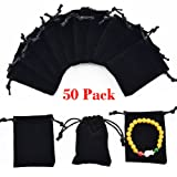 "handrong 50pcs Velvet Bags Drawstring Jewelry Gift Pouches for Women Wedding Bridal Shower Party Favors 3.6""x2.8"" (Black)"