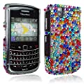 For Blackberry Bold Tour 9650 9630 Multi Color Design Diamond Hard Back Case Cover