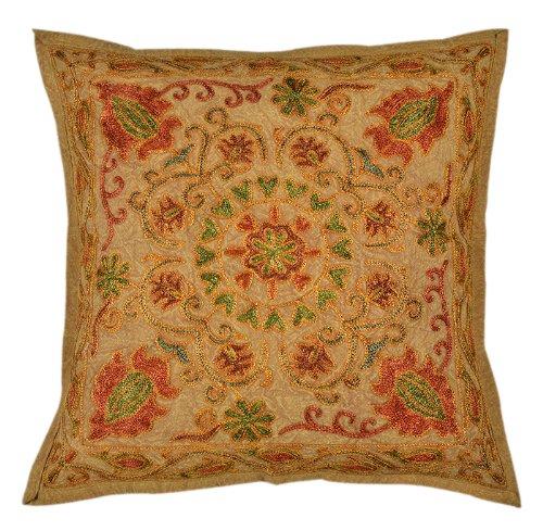Imagen 2 de Trabajos de bordado indio Algodón 5 Piece Set Cojín Tamaño 16 x 16 pulgadas