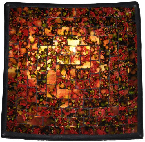 """Mosaic Glass Tray, One Of A Kind - """"Desert Sunset"""" Theme, Approx. 6"""" X 6"""""""