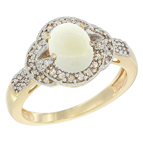 14ct Yellow Gold Natural Opal Ring Oval 8x6 mm Diamond Accent, size M