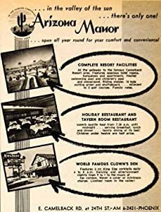 1962 Ad Arizona Manor Resort Facility Camelback Clown Den Phoenix Entertainment - Original Print Ad
