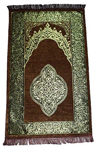 Islamic Prayer Mat Turkish Ottoman Sajadah Thin Prayer Rug Muslim Gift Eid Ramadan Namaz Carpet Dark Brown