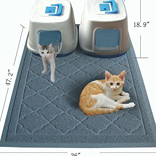 Easyology Jumbo Size Cat Litter Mat – (47 x 36 in) – Best Extra Large Scatter Control Kitty Litter Mats for Cats Tracking Litter Out of Their Box – Soft to Paws- (Patent Pending) (Light Gray)
