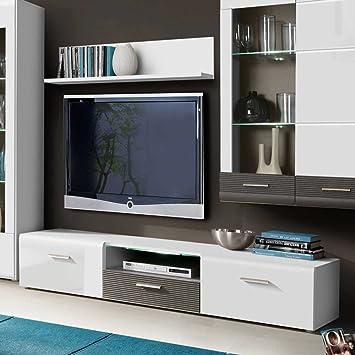 TV Board in Weiß Hochglanz Grau Pharao24