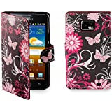 32nd® Design book wallet PU leather case cover for Samsung Galaxy S2 Sii i9100 + screen protector and cloth - Gerbera