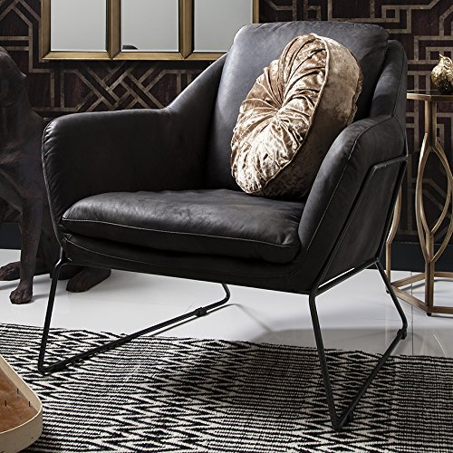 Carson Ebony Leather Armchair Sleek Curves and Uber-cool Design BL-5055999201674