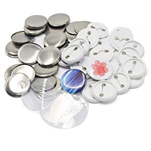 100 Sets Pin Back Button Parts for Badge Maker Machine Button Made DIY Crafts and Children's Craft Activities (44mm 1¾ inch) (Tamaño: 44mm 1¾ inch)
