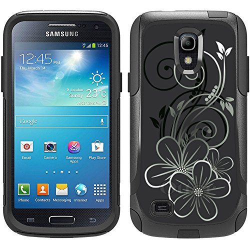 Skin Decal for Otterbox Commuter Samsung Galaxy S4 Mini Case - Black White Flower on Black (Samsung Galaxy S4 Mini Decal compare prices)