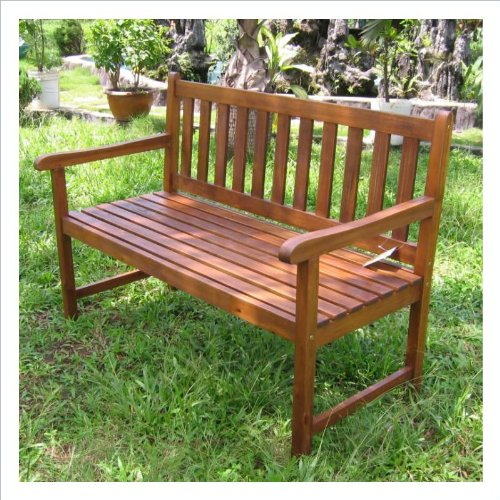 Acacia 4 Foot Bench (Stained Acacia) (35.25″H x 48.25″W x 25.5″D)