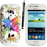 FOR SAMSUNG GALAXY S3 MINI i8190 PRINTED SILICONE GEL PROTECTION CASE COVER + STYLUS GSDSTYLEYOURMOBILE{TM} (New Multi Butterfly)