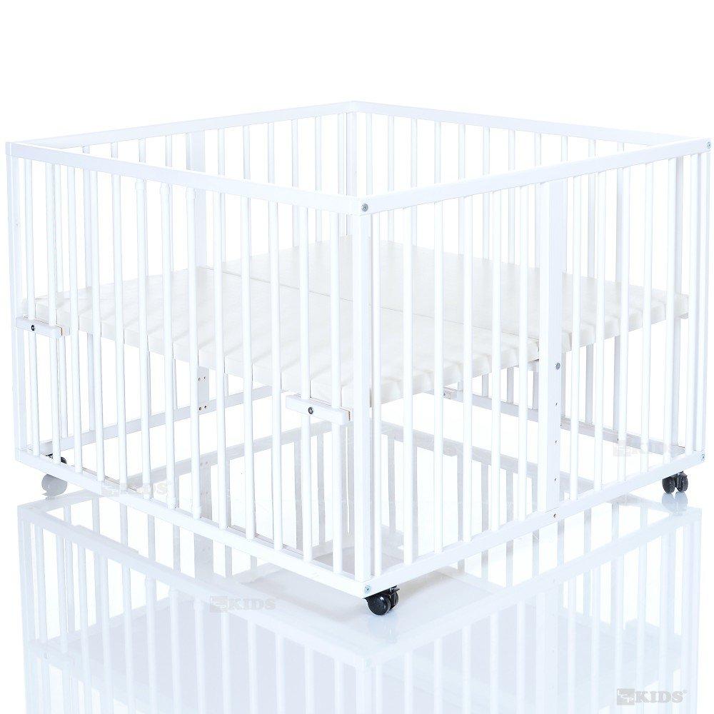 Holz Baby Laufstall 100×100 cm Niklas weiss – Laufgitter mit wasserabweisendem und weichem Boden günstig kaufen