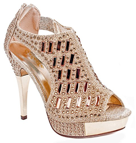 Women Champagne Glitter Crystal Rhinestone Peep Toe Platform High Heel Evening Dress Bootie Pumps-8