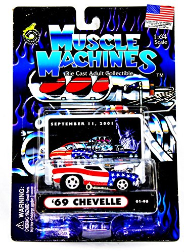 1969 Chevy Chevelle 01-95 In Patriotic Colors Diecast 1:64 Scale By Muscle Machines