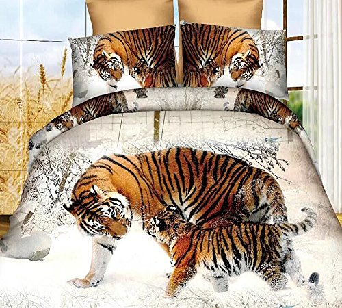 3D Snow Winter Tiger Bedding Set Polyester Comforter Sets Prints Duvet Cover Set Queen Size 4Pcs(1PC Bed sheet/1PC Comforter Cover/2 PCS Pillow Covers)