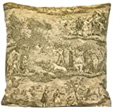Hunting Green Design Decorative Throw Pillow Case Toile Cushion Cover French Style Les Veneurs Marvic Textiles Cottage Square