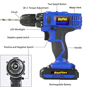 21V Electric Rechargeable Cordless Power Screwdriver Drill with Bright LED Light and 29 Piece Accessories for Easy Home DIY Screwdriving, Drillong - Perfect Gift Idea (2X Batteries