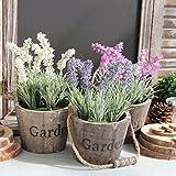 Life Up® Künstliche Blumen im Topf Lavendel Kunstblume Deko mit Blumentopf Holz hängend Kunstpflanzen 25cm * 12.5cm Weiß
