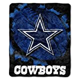 "NFL Dallas Cowboys 50-Inch-by-60-Inch Sherpa on Sherpa Throw Blanket ""Strobe"" Design"