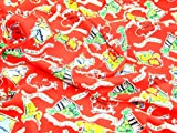 Red 'Im Going to the Zoo' Print Stretch Jersey Clearance Dress Fabric - per metre