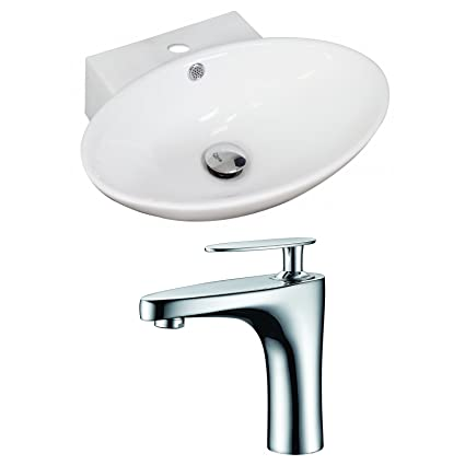 "American Imaginations AI-15034 Oval Vessel Set with Single Hole CUPC Faucet, 21"" x 15"", White"