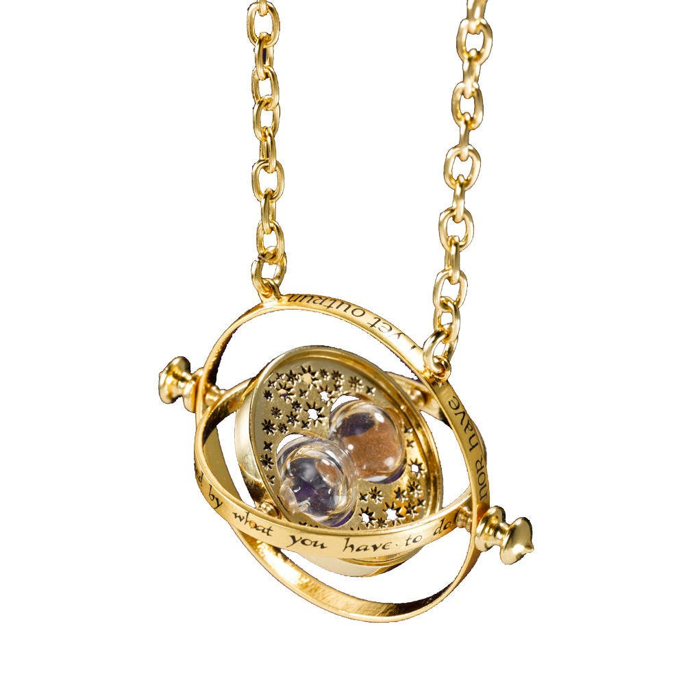 Harry Potter Time-turner Rotating Hourglass Pendant Alloy Necklace By Boomstar Jewelry (Gold)
