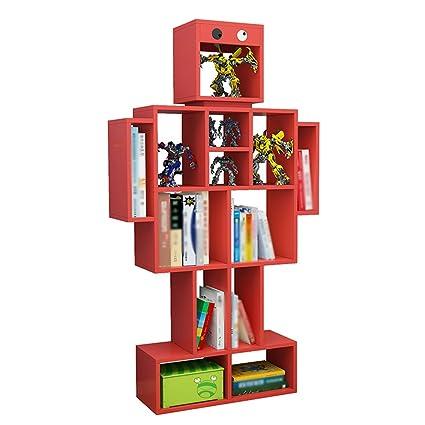 FEIFEI Bookshelf Robot Shape Floorstanding Multifunzione Multi-layer 4 colori ( Colore : Rosso )
