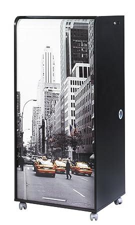 Simmob ORGA140NON504 Scene New York 504 Armoire Informatique Mobile avec 2 Tiroirs Bois Noir 53,1 x 65,2 x 139,9 cm