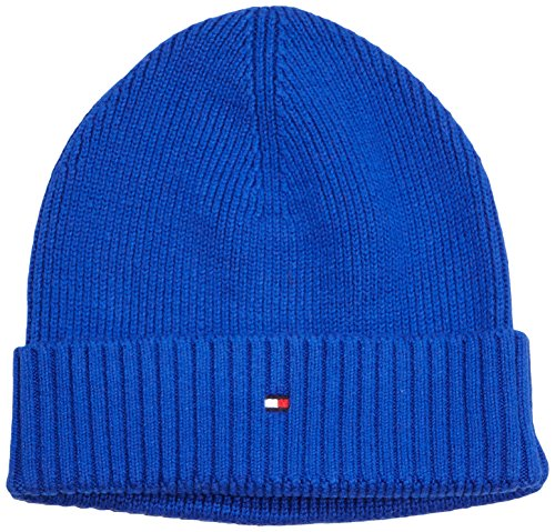 Tommy Hilfiger - PIMA CTN CASHMERE BEANIE, Berretto da uomo, blu (bright blue heather hc782 428), Talla unica
