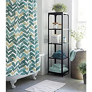 Crate And Barrel Paloma Shower Curtain 100 Percent Cotton Modern Leaves Printed