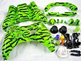 Xbox 360 Wireless Controller Shell Buttons Thumb-sticks Replacement Case Custom Cover Kit LIME GREEN ZEBRA STRIPE HIGH GLOSS