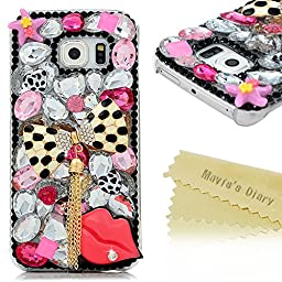 Galaxy S6 Edge Case - Mavis\'s Diary 3D Handmade Bling Crytal Fashion Bow with Tassel Sexy Lips Shiny Rhinestone Sparkle Diamonds Design Clear Case Hard PC Cover for Samsung Galaxy S6 Edge G9250