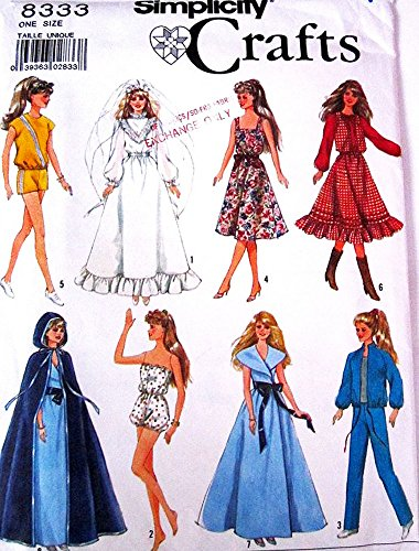 Simplicity 8333 Vintage 80s Sewing Pattern 11.5 Fashion Dolls like Barbie and Midge (Sewing Patterns Barbie compare prices)