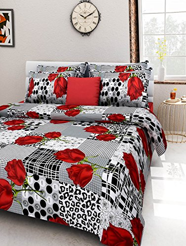 Homefab India 100% Cotton Double Bed Sheet with two Pillow Covers