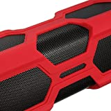 PYRUS Outdoor Bluetooth Speaker 3600mAh Portable Power Bank Wireless Speakers, Bluetooth 4.0 with NFC, 2x3W Stereo Bass Sound Built-in Microphone - Red