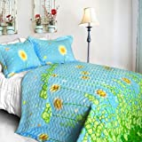 [Dandelion Dancing Night] Cotton Floral Vermicelli-Quilted Patchwork Quilt Set