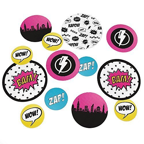 BAM! Girl Superhero - Party Table Confetti - 27 Count