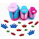 TECH-P Set of 3PCS (2 inch+1.5 inch+1inch) Craft Punch Set Paper Punch Paper Punch Tool Eva Punches for Making Arts Crafts Projects Cards Scrapbooking Garland Hanging Decorations (Crown) (Color: Crown)