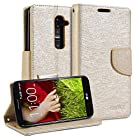 LG G2 Case, GMYLE Wallet Case Classic - Champagne Gold with Natural Silk Pattern PU Leather Cover Stand Case Cover