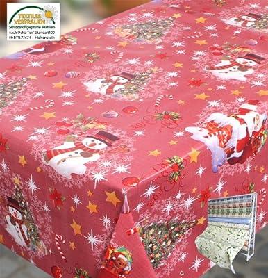 WACHSTUCH TISCHDECKE abwischbar Meterware, Größe wählbar, Glatt Weihnachten Schneemann, Rot von Beautex auf Gartenmöbel von Du und Dein Garten