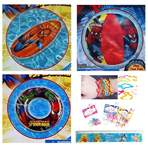 """5 Items: Inflatable Spiderman Pool Toys for Toddlers (3 Pieces) + Disney Ruler + 12-pack Silicone Bracelets: Spiderman Pool Float Raft (28""""), Spiderman Beach Ball (14""""), and Spiderman Swim Ring (17"""")"""