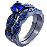 Jude Jewelers Black and White Gold Plated Wedding Ring Set with Enhancer (Black Blue, 4)