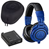 Audio-Technica ATH-M50xBB Professional Monitor Over-Ear Headphone Bundle with Indigo PHPA1 Portable Headphone Amplifier and Slappa SL-HP-99 HardBody Case (Color: Blue)