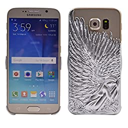 Galaxy S6 Case, Turf Angel Wings Stylish Deluxe Bling Sparkly Electroplate Embossment 3D Protective Cover for Samsung Galaxy S6 Silver
