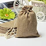 KINGSO Burlap Hessian Mini Bags Rustic wedding Favor Gift bag