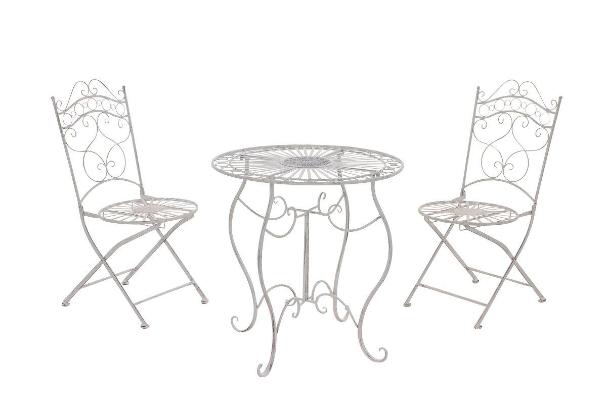 CLP Garten-Sitzgruppe INDRA, aus Metall, in nostalgischem Design, Durchmesser Tisch: 70 cm (aus bis zu 6 Farben wählen) antik-weiß günstig online kaufen