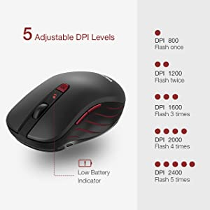 VicTsing MM106 2.4G Optical Mobile Wireless Mouse with Nano USB Receiver,Ergonomic Mouse,5 Adjustable DPI Levels, 6 Buttons for Laptop, Notebook, PC, MacBook, Black (Color: Black)