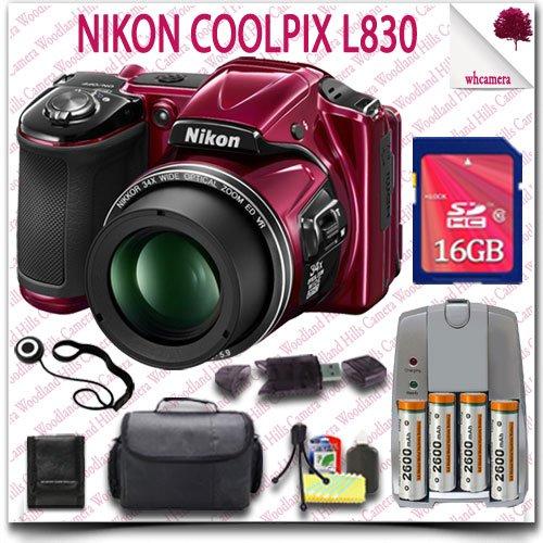 Nikon Coolpix L830 Cmos Digital Camera (Red) + Aa Batteries And Charger + 16Gb Sdhc Class 10 Card + Slr Gadget Bag 10Pc Nikon Saver Bundle