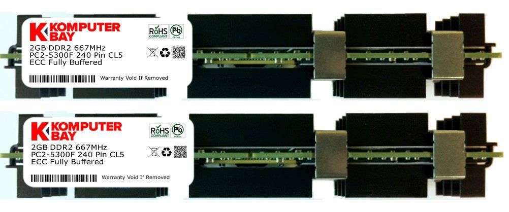 KOMPUTERBAY 4GB (2X2GB) APPLE MAC PRO MEMORY DDR2 667 FB DIMM RAM PC2-5300 4gb pc2 5300s ddr2 667 667mhz ddr2 laptop memory cl5 0 sodimm notebook ram non ecc 200pin 2rx16 low density